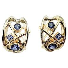 Vintage 14 Karat White Gold Tanzanite Clip On Earrings GAI Certified