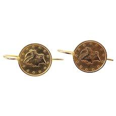 Vintage 21.6 Karat Yellow Gold Liberty Coin Earrings