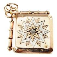 Vintage 14 Karat Rose/White Gold and Diamond Locket