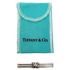 Vintage Tiffany & Co Sterling Silver Signature X Tie Bar Clip with Pouch