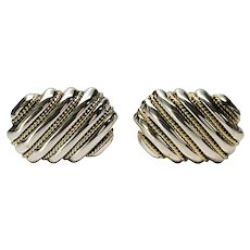 Tiffany & Co Sterling Silver 18K Yellow Gold Rope Accent Cufflinks