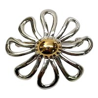 Tiffany & Co Paloma Picasso Sterling Silver 18K Yellow Gold Daisy Pin