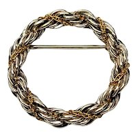 Tiffany & Co Sterling Silver 18K Yellow Gold Rope Circle Pin