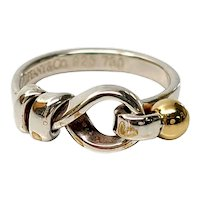 Tiffany & Co Sterling Silver 18K Yellow Gold Hook and Eye Ring, Size 4