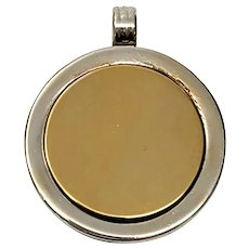 Vintage Tiffany & Co Sterling Silver and 18K Yellow Gold Disc Pendant