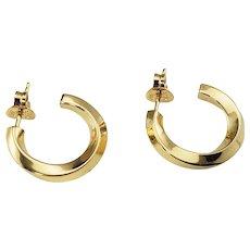 Vintage Tiffany & Co 18 Karat Yellow Gold Hoop Earrings