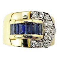 Vintage 18 Karat Yellow Gold Sapphire and Diamond Ring Size 5.5