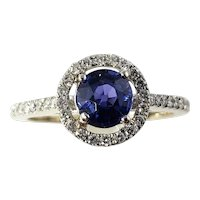 Vintage 18 Karat White Gold Sapphire and Diamond Ring Size 6.75 GAI Certified