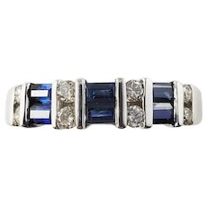 Vintage 14 Karat White Gold Sapphire and Diamond Ring Size 9.25