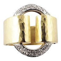 Vintage 18 Karat Yellow Gold and Diamond Band Ring Size 6