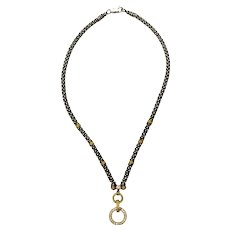 Lagos Caviar Sterling Silver 18K Yellow Gold Diamond Circle Game Necklace