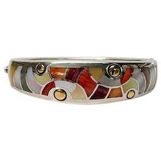 Asch Grossbardt Sterling Silver 18K Yellow Gold Multi-Stone Inlay Bangle Bracelet