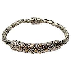 DS Sterling Silver 18K Yellow Gold Wheat Bali Style Bracelet