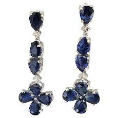 Vintage 14 Karat White Gold Sapphire and Diamond Dangle Earrings