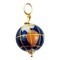 Vintage 14K Yellow Gold Globe Charm