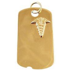 Vintage 14K Yellow Gold Medical Dog tag