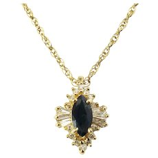 Vintage 14 Karat Yellow Gold Sapphire and Diamond Pendant Necklace