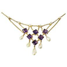 Vintage 14 Karat Yellow Gold Amethyst and Pearl Bib Necklace