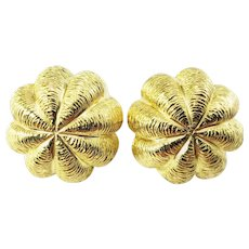 Vintage Tiffany and Co. 18 Karat Yellow Gold Button Earrings