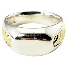 Vintage David Yurman Men's Sterling Silver and 18 Karat Yellow Gold Ring Size 10