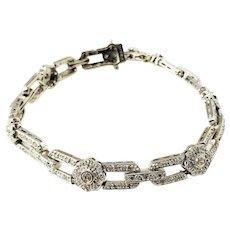 Vintage 14 Karat White Gold and Diamond Bracelet