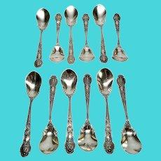 Set of 12 Antique Tiffany & Co Sterling Silver Renaissance Parfait Spoons