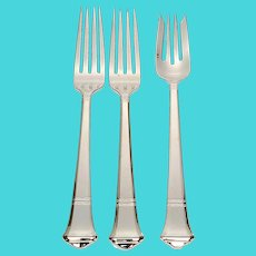 Set of 3 Tiffany & Co Windham Sterling Silver Dinner and Salad Forks