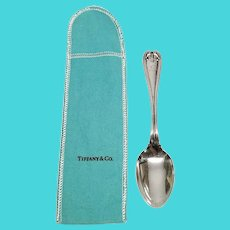 Antique Tiffany & Co Sterling Silver Colonial Tea Spoon with Monogram with Pouch