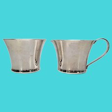 Porter Blanchard Sterling Silver Arts & Crafts Sugar Bowl and Creamer