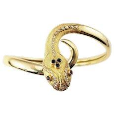 Vintage 16 Karat Yellow Gold and Diamond Snake Bracelet