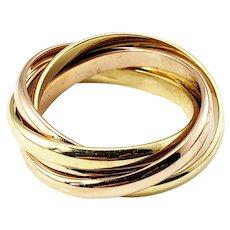 Vintage 18 Karat Yellow, Rose and White Gold Rolling Ring Size 7
