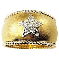 Vintage 18 Karat Yellow Gold and Diamond Band Ring Size 5