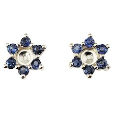 Vintage 14 Karat White Gold and Treated Blue Diamond Earring Jackets