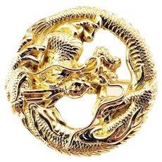 Vintage 14 Karat Yellow Gold Dragon Brooch/Pin