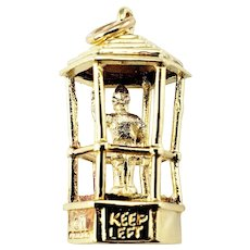 Vintage 14 Karat Yellow Gold Bermuda Traffic Officer in Birdcage Charm