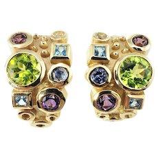 Vintage 14 Karat Yellow Gold Multi-Colored Stone Earrings GAI Certified