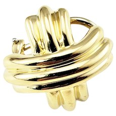 "Vintage Tiffany & Co. 18 Karat Yellow Gold Single ""X"" Earring"