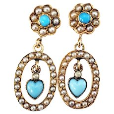 Vintage 14 Karat Yellow Gold Turquoise and Seed Pearl Dangle Earrings