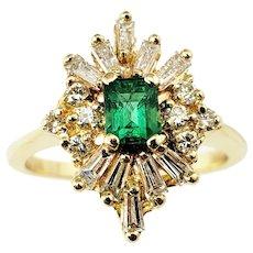 Vintage 14 Karat Yellow Gold Emerald and Diamond Ring Size 7