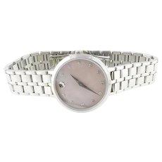 Movado Kora Pink Mother of Pearl Diamond Stainless Steel Ladies Watch