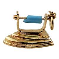 Vintage 18K Yellow Gold Clothing Iron Charm