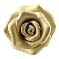 Vintage 18 Karat Yellow Gold and Yellow Diamond Rose Ring Size 8 GAI Certified