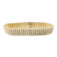 Vintage 14 Karat Yellow Gold Diamond Bracelet GAI Certified