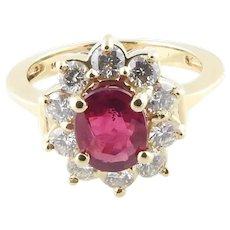 Vintage 14 Karat Yellow Gold Ruby and Diamond Ring Size 6.25 GAI Certified