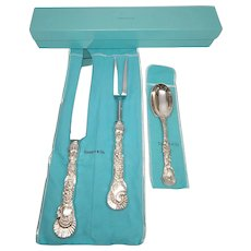 Tiffany & Co Sterling Silver Turkey Roast Carver Knife Fork Cranberry Spoon Set Box & Pouch