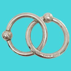 Tiffany & Co Sterling Silver 1837 Double Ring Rattle