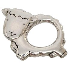 Cunhill Sterling Silver Little Sheep Teether Rattle