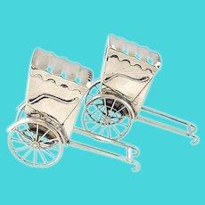 Japanese 950 Sterling Silver Rickshaw Cart Salt & Pepper Shakers
