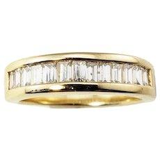 Vintage 14 Karat Yellow Gold Baguette Diamond Wedding Band Ring Size 5