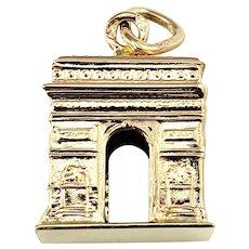 Vintage 18 Karat Rose Gold Arc De Triomphe Charm